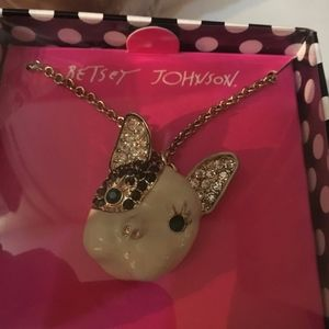 Betsey Johnson Doggie PUG? Gold &Crystals Necklace